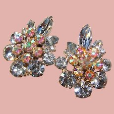 Fabulous D&E JULIANA Blue & Aurora Rhinestone Vintage Clip Earrings