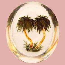 Unusual CARVED LUCITE Palm Tree Design Vintage Brooch