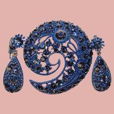 Fabulous BLUE Enamel & Rhinestone Vintage Brooch Set