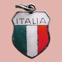 800 Silver & Enamel ITALIA Vintage Charm - Souvenir of Italy - Travel Shield