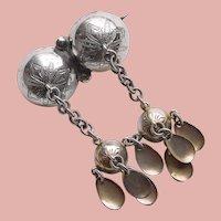 Fabulous 1907 Swedish SOLJE Antique Silver Hallmarked Dangle Brooch - Sweden Scandinavian - Bernard Hertz