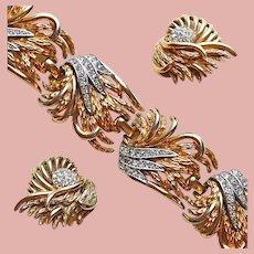Fabulous BOUCHER Signed Rhinestone Vintage Bracelet & Earrings Set - 1950s