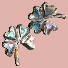 Fabulous MEXICAN STERLING Clover Shamrock Vintage Earrings - Screw Backs - Inlaid with Abalone