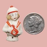 "Tiny Porcelain Half Doll - 1 1/16"" by 5/8"" Miniature Mini Pin Cushion Doll"