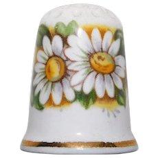 Vintage DAISY Flower Porcelain Estate Thimble