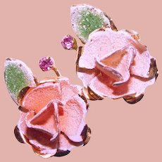 Gorgeous AUSTRIA Peach Rose Earrings