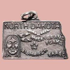 Sterling NORTH DAKOTA Vintage Charm - State Souvenir