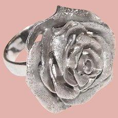 Gorgeous Italian Sterling Rose Ring - JCM Jacmel Mauritius Italy - Size 6 1/4