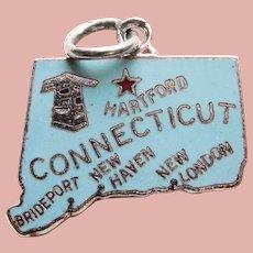 Sterling & Enamel CONNECTICUT Vintage Charm - State Souvenir - Danecraft