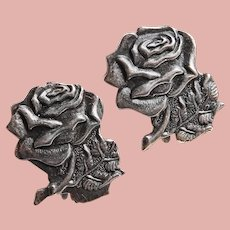 Gorgeous Sterling ROSE Vintage Earrings - Screw Backs