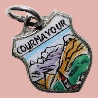 800 Silver & Enamel COURMAYOUR Charm - Souvenir of Italy - Travel Shield