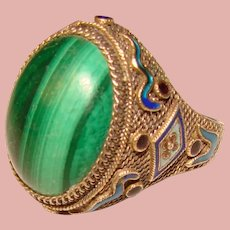Fabulous STERLING MALACHITE Filigree Enamel Vintage Ring - Adjustable Size 8