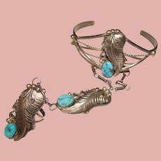 Fabulous STERLING & TURQUOISE Slave Bracelet Cuff Ring