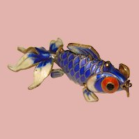 Sterling Enamel WIGGLY FISH Mechanical Vintage Estate Charm Pendant - Articulated - Movable