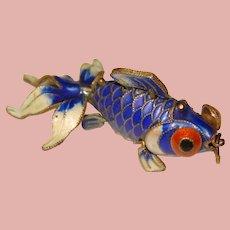 Sterling Enamel WIGGLY FISH Mechanical Vintage Estate Charm Pendant - Articulated - Movable