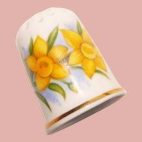 Vintage DAFFODIL Flower Porcelain Estate Thimble