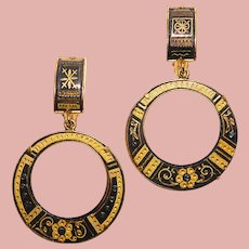 Gorgeous DAMASCENE Vintage Dangle Hoop Earrings