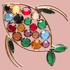 Awesome FISH Open Color Crystal Stones Pendant