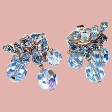 Fabulous TRIFARI Signed Blue Rhinestone Aurora Crystal Dangle Clip Earrings