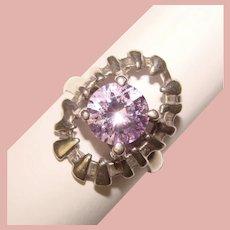 Fabulous STERLING Lavender Color Stone Vintage Ring