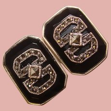 Gorgeous Sterling Black Stone & Marcasite Clip Earrings