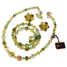 Fabulous Vintage CORO Mixed Green Colors Aurora Crystal Beads Necklace Set