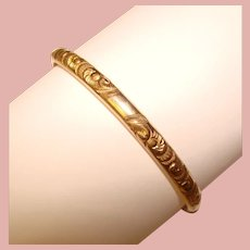 Gorgeous Dainty Patterned Gold Filled Hinged Bangle Bracelet