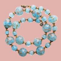 Fabulous VENETIAN MURANO GLASS Aqua Blue Beads Vintage Necklace - Aventurine