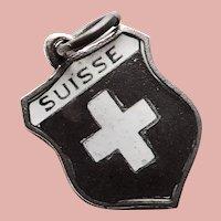 800 Silver & Enamel SWITZERLAND Suisse Charm - Souvenir Travel Shield - Matte Enamel