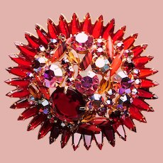 """Fabulous Huge 2 7/8"""" D&E JULIANA Rhinestone Red & Coral Colored Vintage Brooch - Runway Statement"""