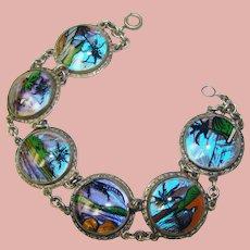 Fabulous BUTTERFLY WING Scenic Vintage Bracelet
