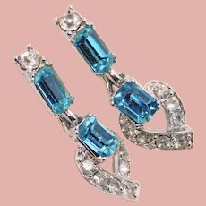 Gorgeous Aqua & Clear Rhinestone Dangle Clip Earrings