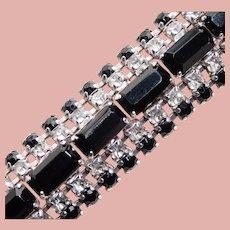 Gorgeous BLACK & CLEAR Rhinestone Vintage Bracelet