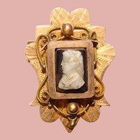 Fabulous Antique Victorian Hardstone Cameo Brooch
