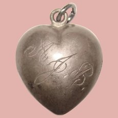 Awesome Sterling PUFFY HEART Charm - Engraved Initials