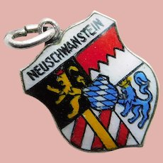 800 Silver & Enamel NEW SWANSTONE CASTLE Neuschwanstein Charm - Souvenir of Germany - Travel Shield