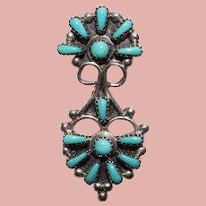 Gorgeous Small Sterling & Turquoise Pendant - Petit Point Needlepoint Zuni