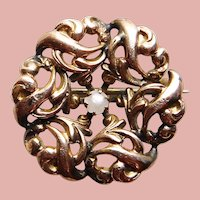 """Tiny Antique Faux Seed Pearl Mini Pin Brooch - 13/16"""" - For Your Doll"""