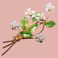 Gorgeous KREMENTZ Signed Enamel & Cultured Pearl Forget Me Not Flowers Vintage Brooch – Original Box