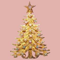 Gorgeous Signed MYLU Aurora Rhinestone VIntage Christmas Tree Brooch