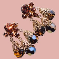 Fabulous Brown Rhinestone Aurora Crystal Dangle Clip Earrings
