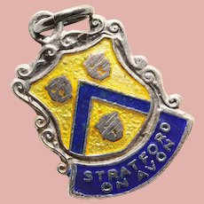 800 Silver & Enamel STRATFORD ON AVON Charm - Souvenir of England Great Britain - Travel Shield - Shakespeare Birthplace