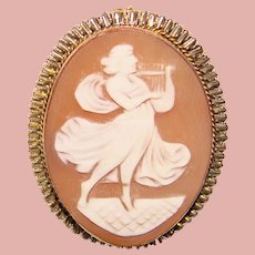 Gorgeous LADY WITH HARP Vintage Carved Shell Cameo Brooch
