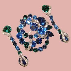 Fabulous EISENBERG Blue & Green Rhinestone Brooch Set – Long Dangle Earrings