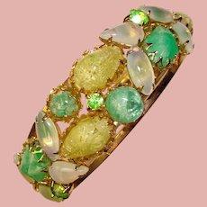 Fabulous GREEN & YELLOW Opalescent Vintage Clamper Bracelet