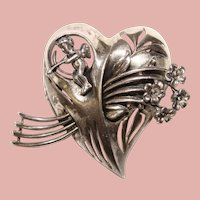 Fabulous WALTER LAMPL Signed Sterling Heart with Cupid Design Vintage Brooch