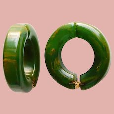 Gorgeous BAKELITE Hoop Clamper Clip Earrings - Marbled Green with Amber