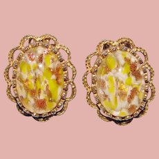 Fabulous HOLLYCRAFT Venetian Glass Stones Vintage Clip Earrings