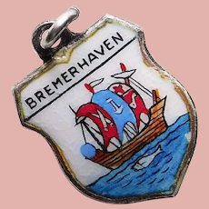 800 Silver & Enamel BREMERHAVEN Charm - Souvenir of Germany - Travel Shield