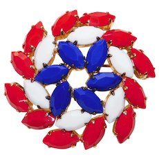 Patriotic Red White & Blue Glass Stones Brooch